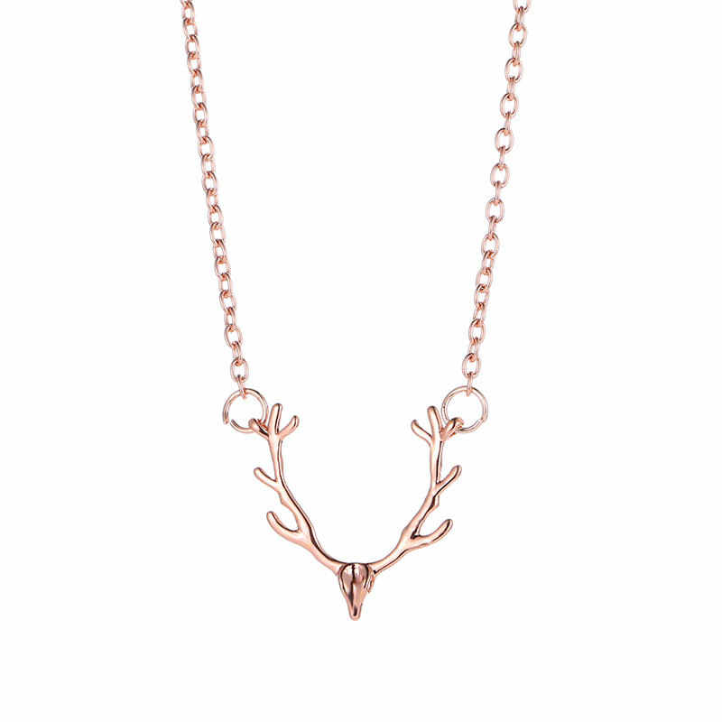 New High Quality 3 Colors Fashion jewelry gold silver Rose gold elk deer antlers pendant necklace for women girl gift drop ship