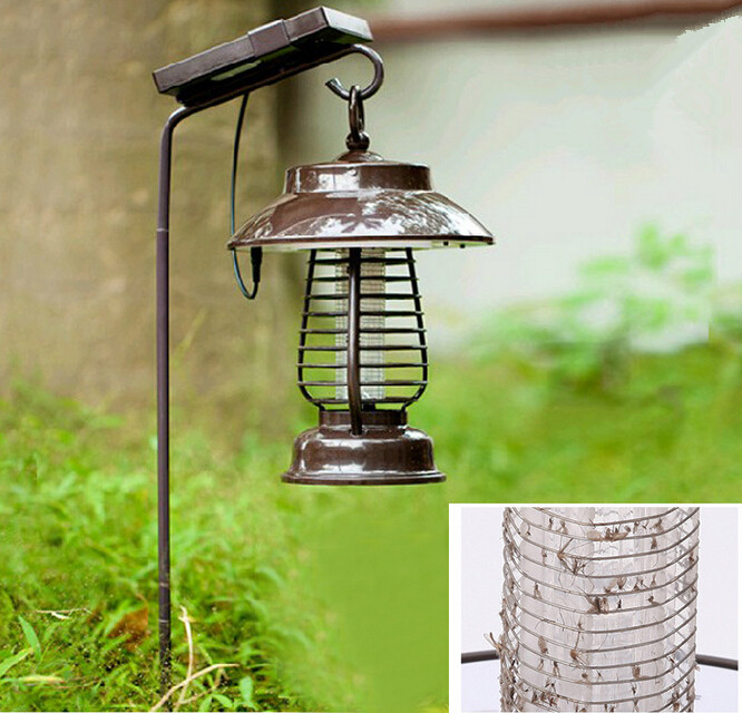 купить Waterproof Solar LED electric Mosquito Killer Lamp anti Fly Bug Zapper Insect repeller pest reject electronics trap недорого