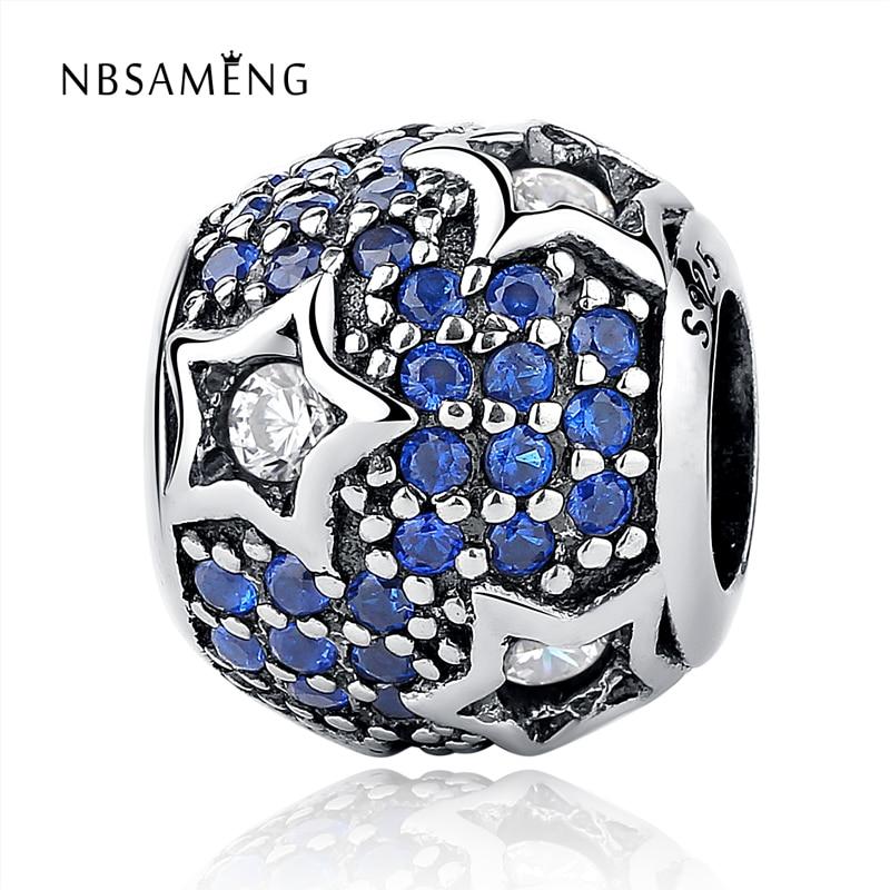 Original 100% 925 Sterling Silver Beads StarCharm With Blue Sky Fits Pandora Charm Bracelets DIY Jewelry Women Wholesale