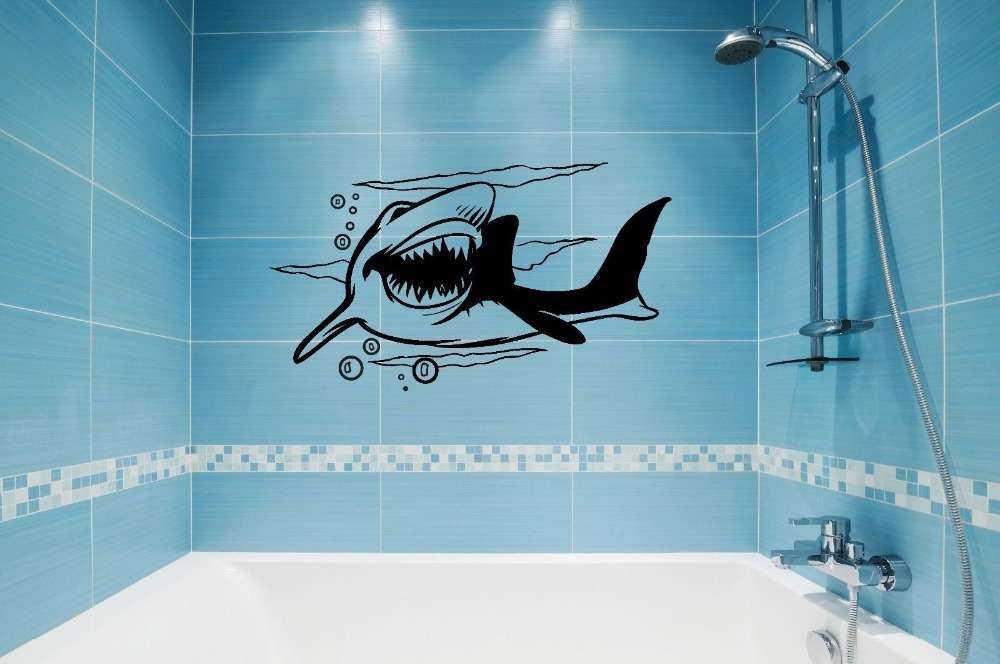 New 2015 Aquarium Shop Vinyl Wall Decal Shark Predator Marine Cool Bathroom Art Wall Sticker Restaurant. Popular Aquarium Bathroom Decor Buy Cheap Aquarium Bathroom Decor