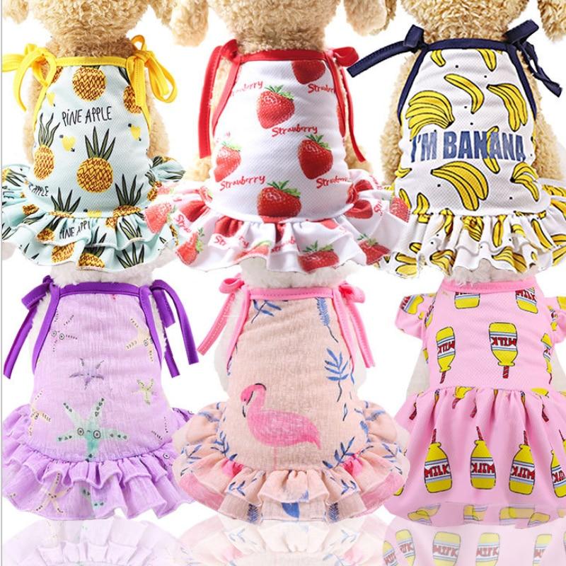 New Cute Cartoon Pet Vest Strap Dress Puppy Dog Chihuahua Vest Cat Dress Spring And Summer Fall Pet Clothes Pet Supplies