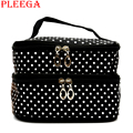 PLEEGA Brand High Capacity Double Layer Women Cosmetic Bag Waterproof Portable Women Makeup Bag Travel Make Up Organizer Bag
