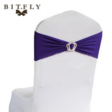 50pcs High Quality Spandex chair band with Crown buckle/ spandex sash/chair sash for chair cover wedding decoration free shippin(China)