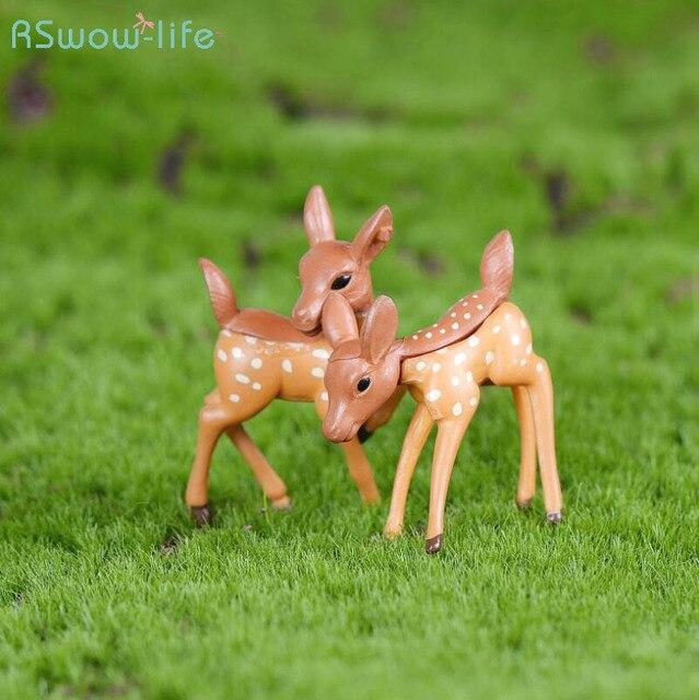 Children's Desktop Small Ornaments Deer Couple Miniature Decoration DIY Micro-landscape Resin Crafts Ornaments