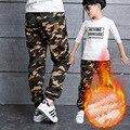 100-160 cm moda camuflagem boy calças mornas do inverno do algodão boy calças crianças moletom primavera outono esportes dos miúdos casuais pant