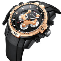 Multifunction BIDEN sports mens wristwatches silicone quartz man watches waterproof calendar luxury male clocks Citizen movement