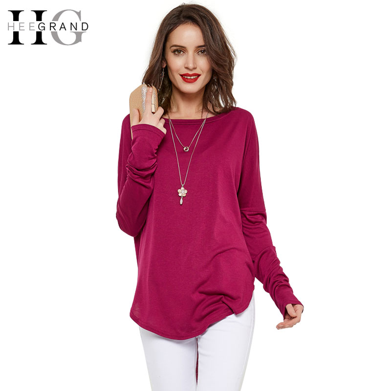 Hee Grand Women Solid Long Sleeve Shirts Casual O Neck