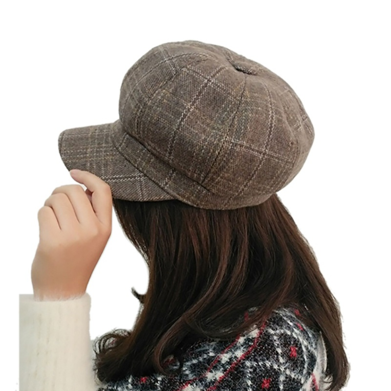 Vintage British Style Hat Beret Octagonal Stuff Cap Plaid for Women Baseball Tennis Awning Female Hats