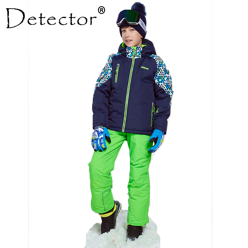 Detector Winter Ski Suit Thicken Boys Clothing Outdoor Set Snowboard Jacket Pants Winter Twinset Suitable -20-30 degree printed jacket and pocket design pants twinset
