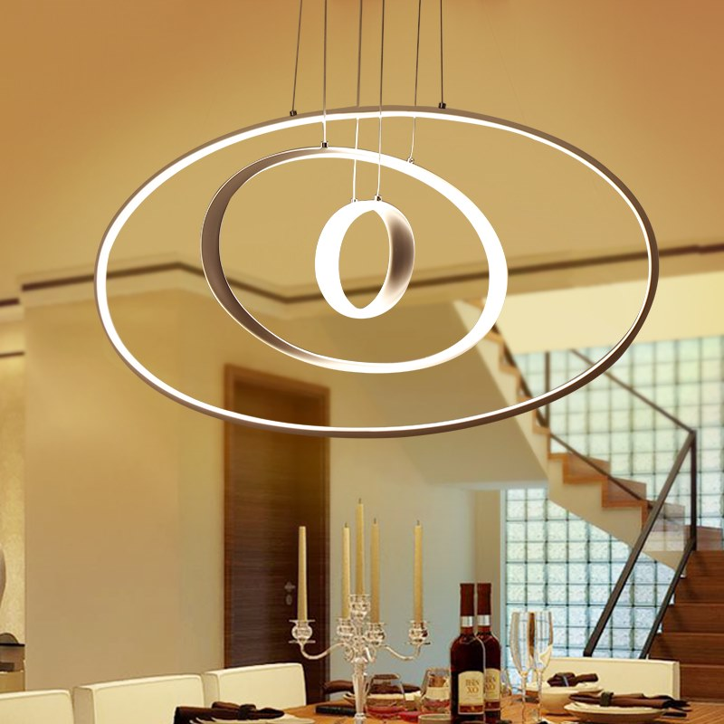 Modern pendant lights for living room dining room 3/2/1 Circle Rings acrylic aluminum body LED Lighting ceiling Lamp fixtures