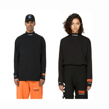 Heron Preston Men T Shirts Long Sleeves Black white Orange Collar Embroidery T-Shirt O-Neck Cotton HP Tees  Jenner selected