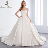 PoemsSongs 2018 New High Quality Lustrous Satin Luxury Wedding Dress For Wedding Vestido De Noiva Bride