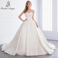 PoemsSongs 2018 New high quality Lustrous Satin luxury wedding dress for wedding vestido de noiva Bride dress ball gown