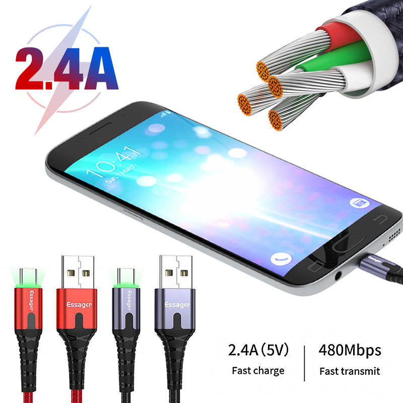 2.4A 2 M Ssager Magnetic Type - c USB สายสำหรับ Type - c Fast Charging Power Line Charge magnet Charger Type - c USB สำหรับ Iphone