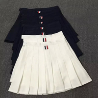 Skirts Womens 2016 Summer TB 3 Colors Ribbon England Style High Waist Pleated Skirt Black White