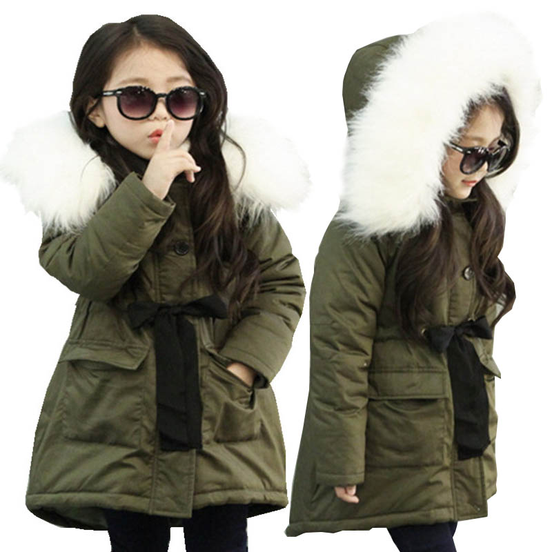 Teen Kids Winter Jacket for Girls Outerwear Fur Collar Thick Hooded Army Green Children Jackets for Girls Clothes Costume 10 12Y цена