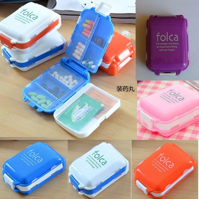 1 PCs Folding Vitamin Medicine Drug Pill Box Makeup Storage Case Container Free Shipping