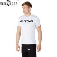 Mens Marka spor salonları t gömlek Spor Vücut Geliştirme Crossfit Slim fit Pamuk Gömlek Kısa Kollu Kas Erkekler moda Tees Tops giyim
