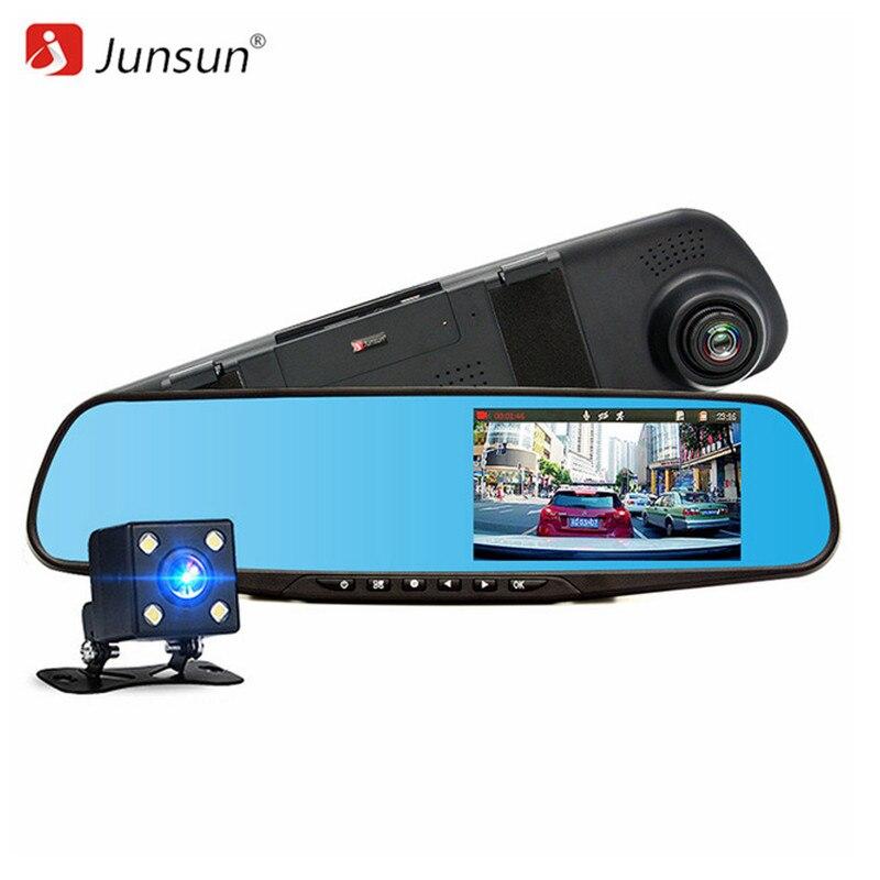 Junsun Voiture DVR Double Lentille Full HD 1080 P Enregistreur Vidéo Rétroviseur Avec Vue Arrière Miroir DVR/Dash caméra