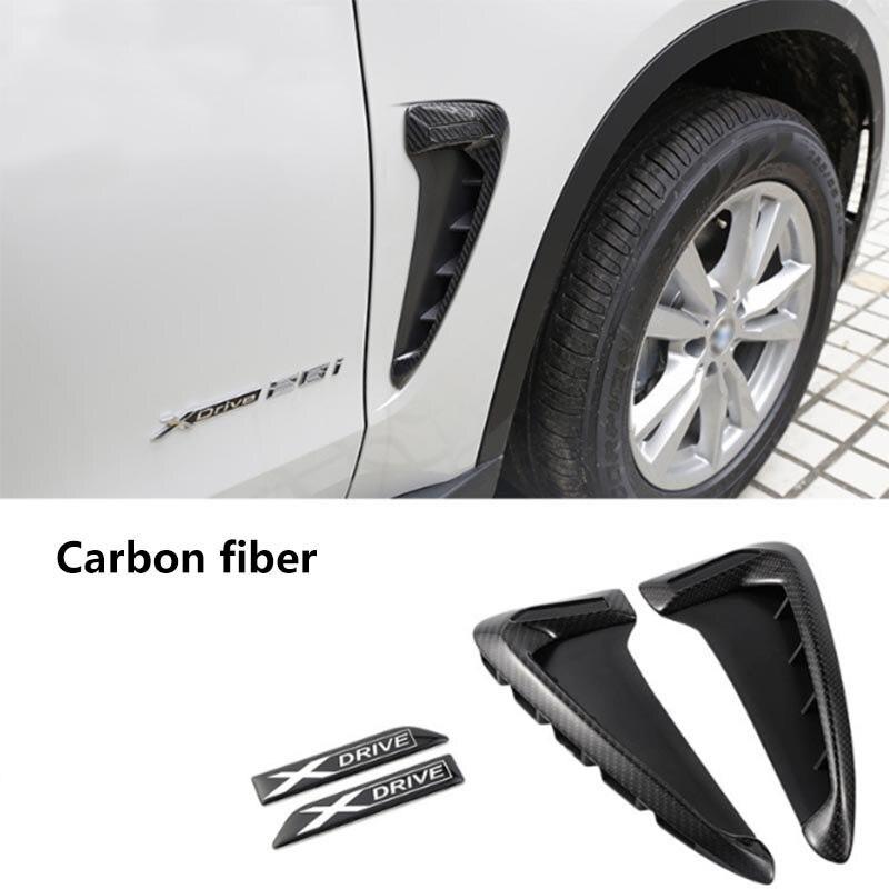 2Pcs Carbon fiber ABS Car Front Fender Side Air Vent Cover Trim For BMW X Series X5 F15 X5M F85 Shark Gills Side Vent Sticker