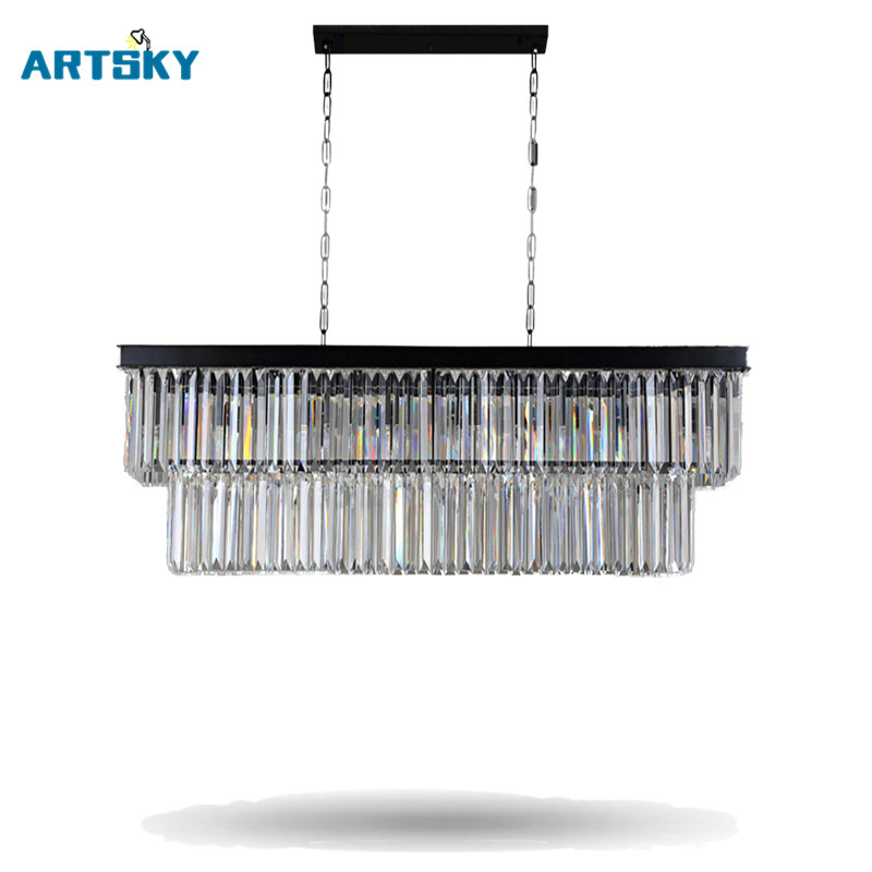 American European- Style Crystal  Pendant Lights  Iron Rectangular Creative  Living Room Restaurant Pendant Lamps bright lights pendant lights american simple living room lights european style wrought iron lamps bedroom dining lights lu829486