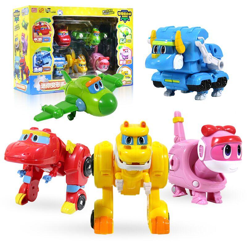 5pcs/set ABS Min Transformation Gogo Dino Action Figures REX Deformation Car Airplane Motorboat Crane Dinosaur Toys For Kids