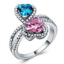 Emerald diamond rings Rose gold ring Topaz crystal cubic zirconia ring Heart-shaped red and blue two-tone Indian jewelry B1030 two tone heart