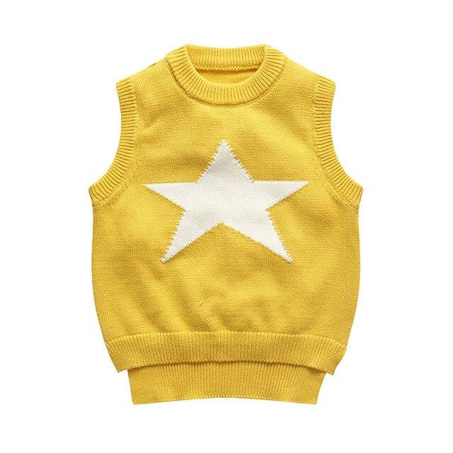 2016 Autumn Winter Knitting Baby Infant  one neck collar boys sweater Pullover toddler boy sweater Pentagram vest children