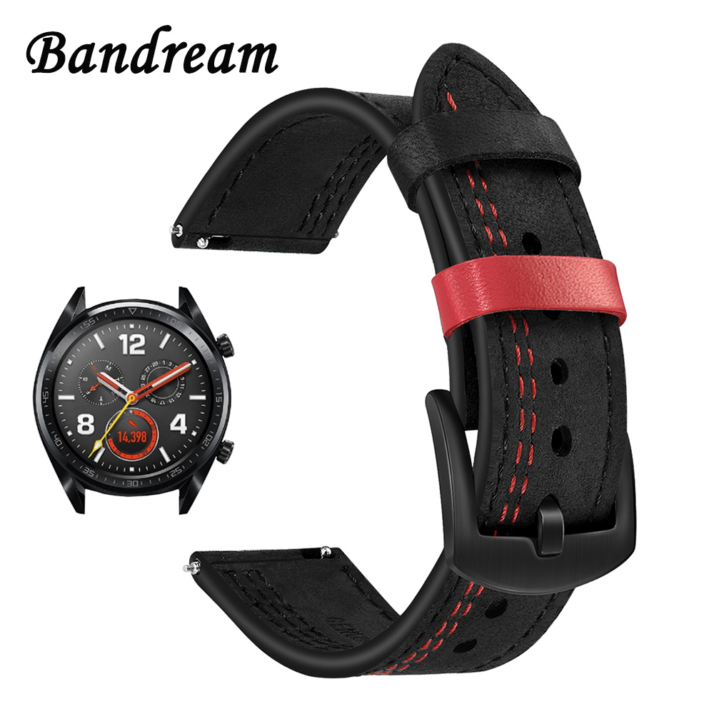 22mm Unique Genuine Leather Watchband For Huawei Watch GT/Watch2 Pro/Classic/Honor Magic Quick Release Band Wrist Strap Bracelet