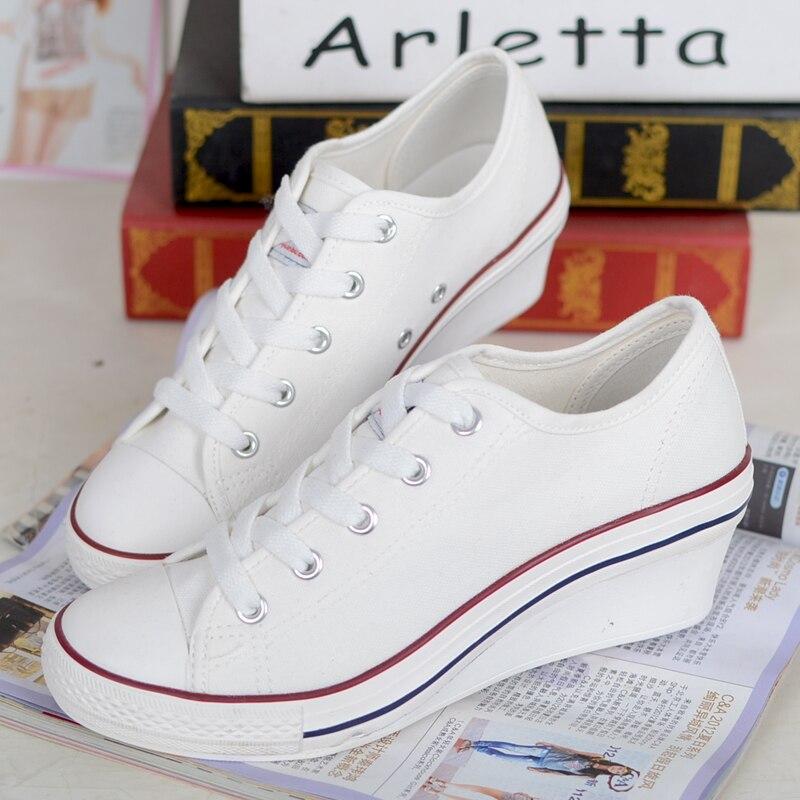 Zapatos de Lona de la Moda Zapatos de Mujer nueva Plataforma de cuña 2016 Nuevo Estilo