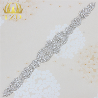 1 Piece Clear Crystal Applique Patches For Wedding Decoration Pearls Rhinestone Motif Resin Appliques Sew On