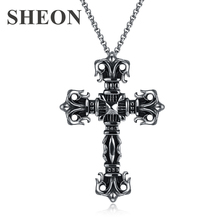 SHEON High quality Vintage fashion Personality Men necklaces Cross Stainless Steel Necklaces Jewelry for men