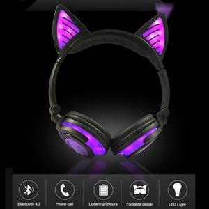 Image 2 - Holyhah fone de ouvido bluetooth wireless, fone de ouvido infantil de gato piscante dobrável, presente de aniversário, fone de ouvido gamer com luz led