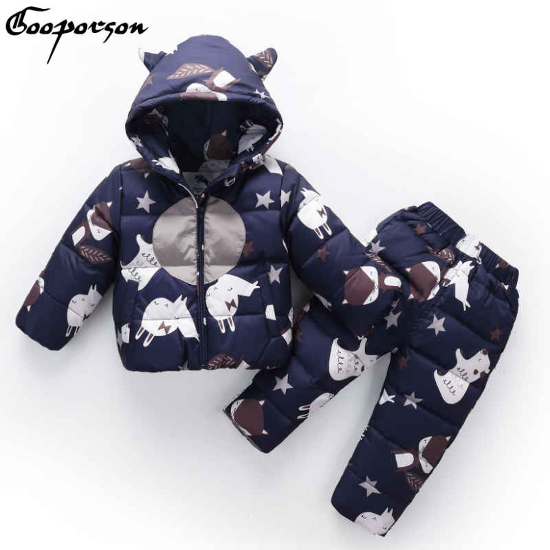 Baby Kids Down Jacket Set Long Sleeve Hoody Winter Outerwear Warm Thick Parkas Animal Snowsuit Boys Down Coat and Trousers 2017 new winter fashion women down jacket hooded thick super warm medium long female coat long sleeve slim big yards parkas nz18
