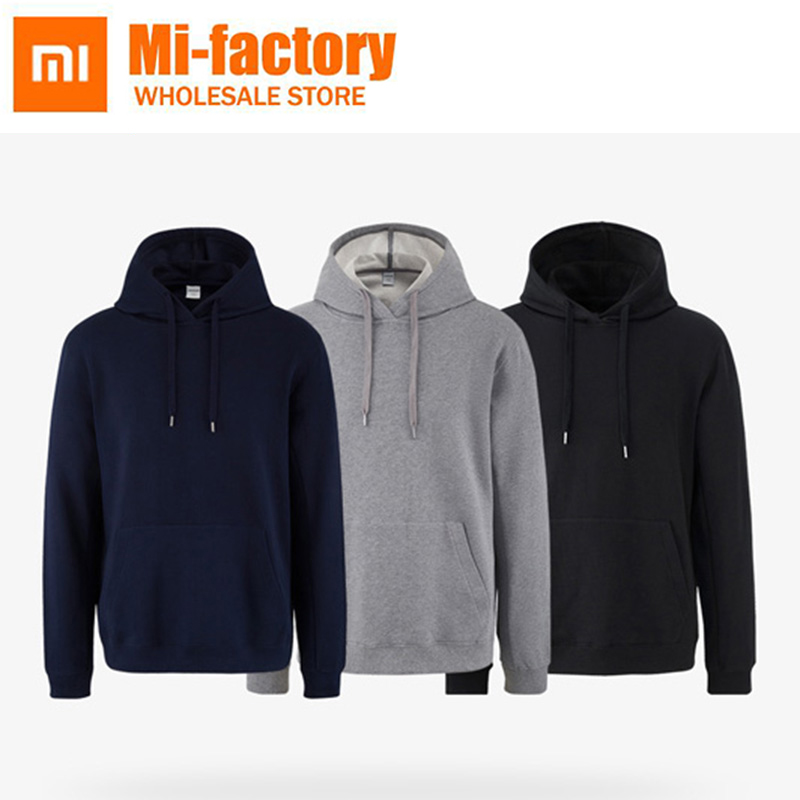 New Xiaomi 100% Cotton Hoodi Solid Color Long Sleeve Sweater Hooded Top Tshirt Pullovers Casual Male Sportswear For Man Woman stylish cowl neck long sleeves color match batwing irregular design cotton blend sweater for women