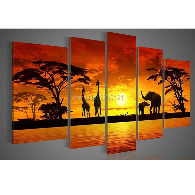 handpainted 5 piece modern africa oil painting on canvas decorative wall art elephant giraffe animal picture for living room