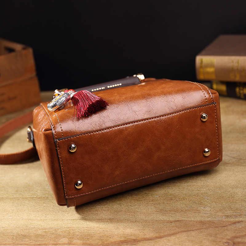 Vintage Echt Leer Toevallige Zak Handtassen Vrouwen Zakken Beroemde Merk Retro Schoudertas Olie Wax Messenger Bag Sac Een belangrijkste T54