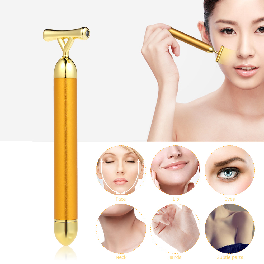 Beauty Bar Massager Anti-aging Face Eye Wrinkle Eraser Firming Roller Stick High Frequency Vibration 24K Gold Plated Energy(China)