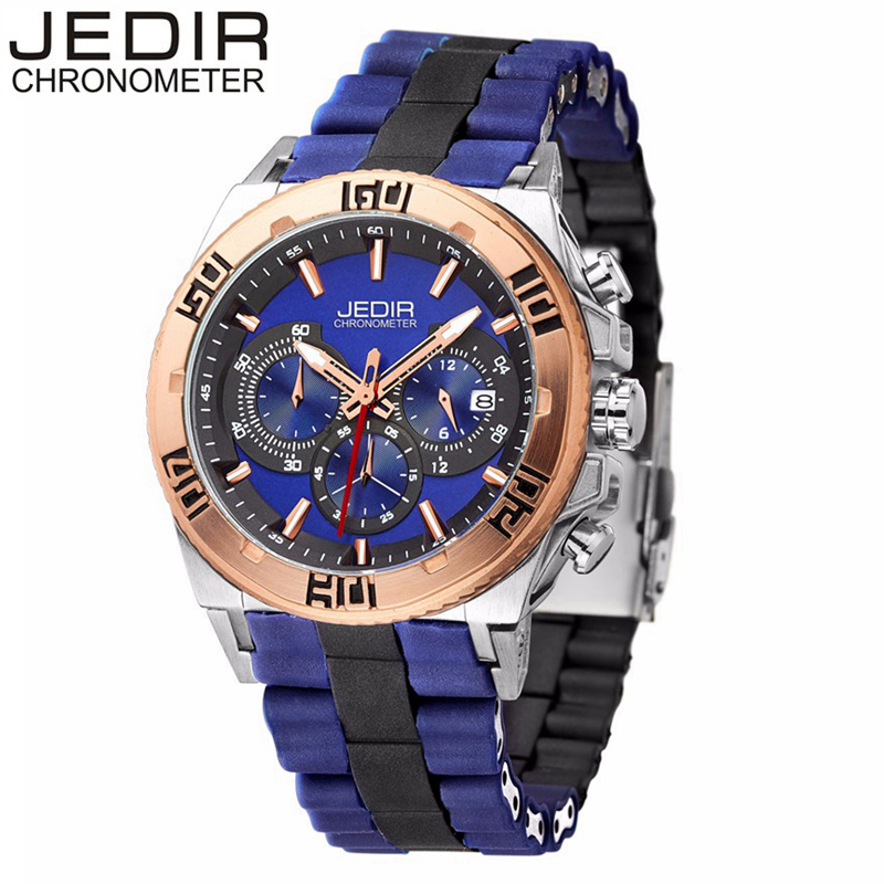 цена на JEDIR Original Men Quartz Watch Chronograph Multifunctional Auto Date Wristwatch Rubber Watches Clock Relojes Hombre 3009