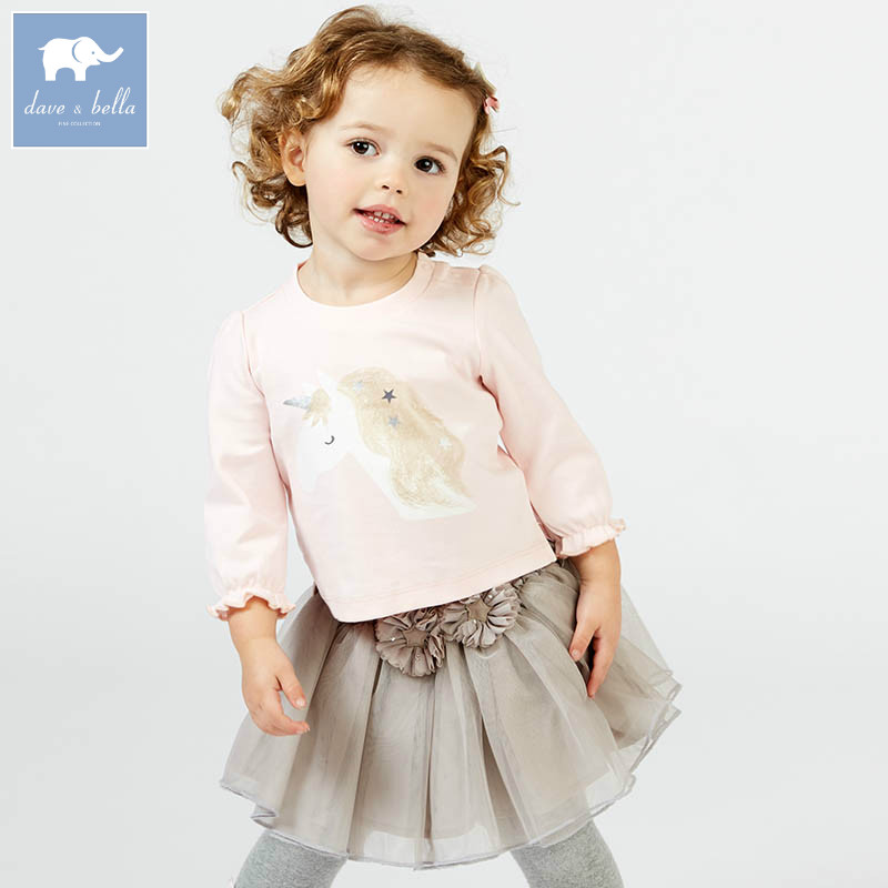 DBJ7640 dave bella spring infant baby girls skirt clothing sets printed suit children toddle outfits high quality clothes