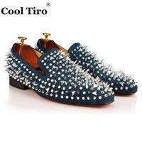 COOL TIRO Handmade Luxury Blue Diamonds Loafer Leather With Silver Spikes And Counter Party And Prom