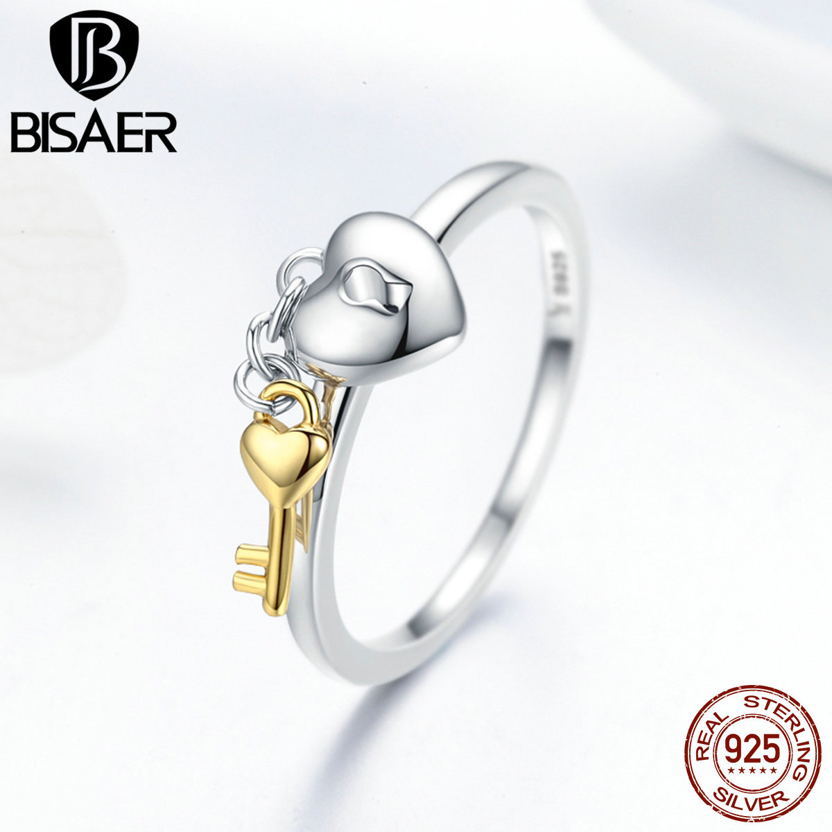 100% 925 Sterling Silver Female Ring Key Lock of Heart Finger