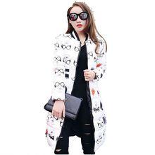 Europe 2016Winter New Fashion Women Leisure Long Coat Temperament Printing Long Sleeve Keep Warm Big yards