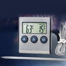 1 pc kuchnia żywności termometr sonda cyfrowa piekarnik i termometr do mięs zegar do grilla Grill mięso do gotowania żywności tanie tanio Cyfrowy Termometry kuchenne Z tworzywa sztucznego BBQ Thermometer Gospodarstw domowych termometry