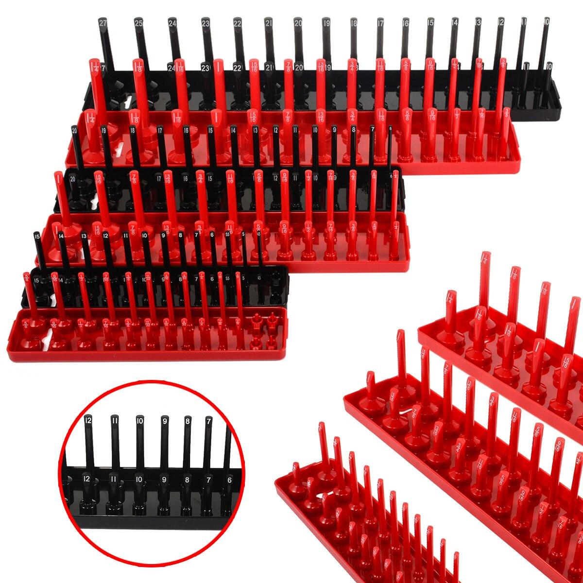 6pcs 1/4'' 3/8'' 1/2'' Plastic Organizer Accessories Shelf Stand Metric SAE Garage Storage Tool Rack Holder Home Socket Tray