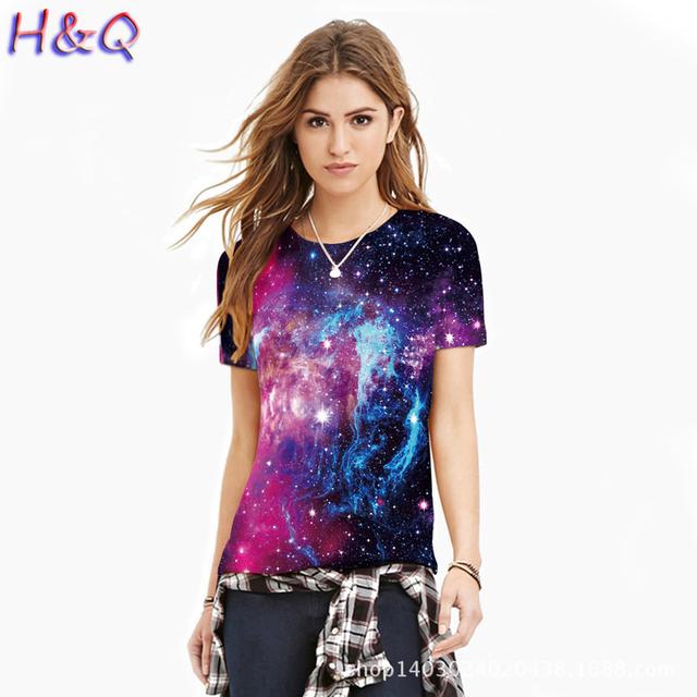 HQ Mulheres Multicolor Padrão Digital 3D Camisetas Mulheres de Manga Curta Casual O Pescoço Tees Meninas Estilo Verão Fresco Camisetas XHH04790