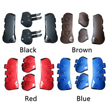 4 PC Horse Front Rear Legs Adjustable Leg Boots PU Leather Jumping Horseshoe Support Protection Supplies