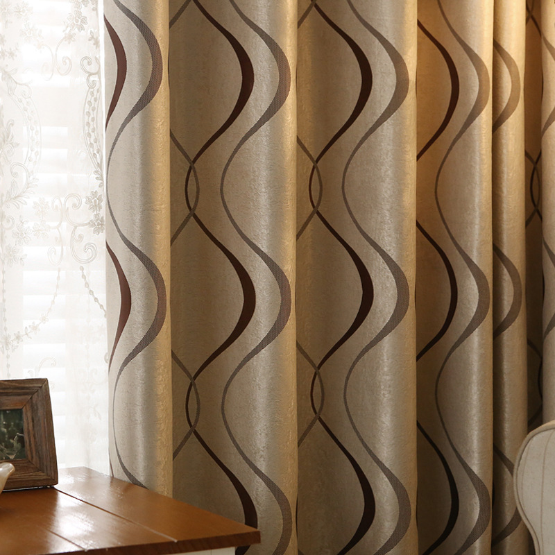 Thick Luxury Wavy Striped Curtains for Living Room Bedroom Cheap Price European Curtains