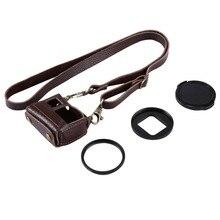 Vintage Clip-cuero protector caso para GoPro Hero5, cámara de acción con 52mm lente con filtro ultravioleta Kits de cubierta ir Pro Hero5 accesorio