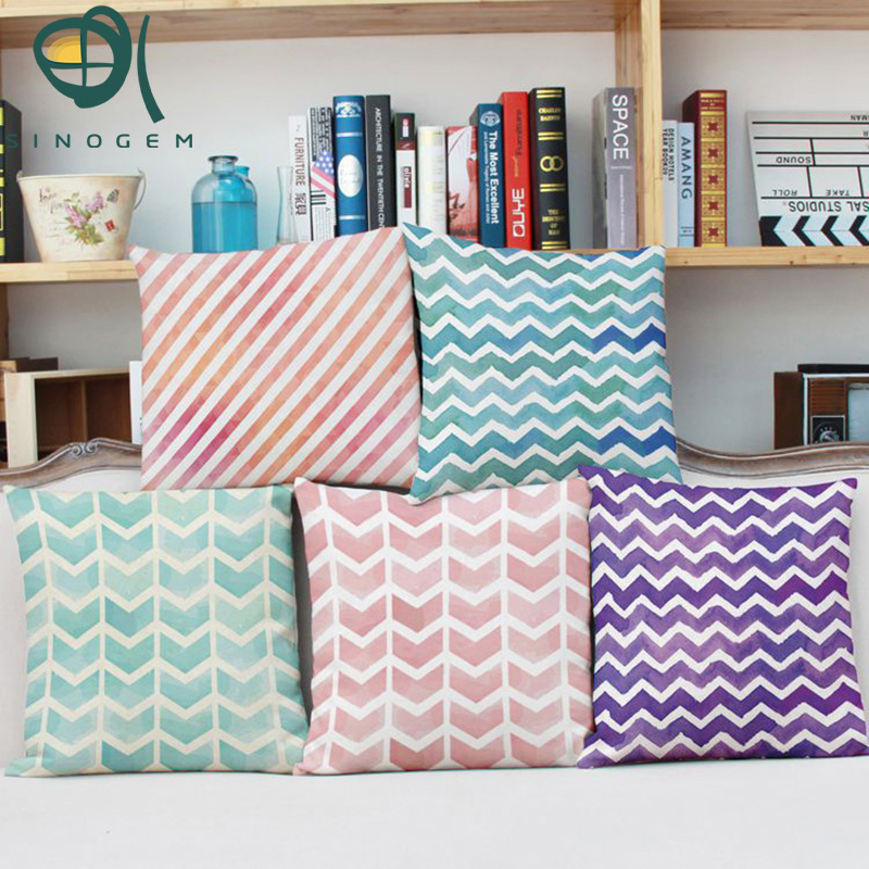y watercolor woven strip vintage decorative pillows geometric cushion cover pink green purple pillowcase for sofa zig zag